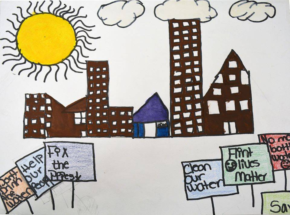 Drawing created by 8th grader, Zeporah B., at Linden Charter School in Flint, Michigan in response to the Flint water crisis.